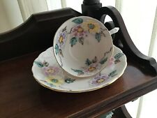 Tuscan Pink hand painted flowers fine English Bone China Demitasse Cup & saucer