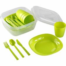 Picnic or Camping Set 16 Piece Set Plastic 3Plates, Cups, Cutlery, Storage,Green