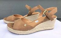 Tommy Hilfiger Twgallie Tan Leather Jute Wedge Ankle Strap Heel Sandals US 10 M