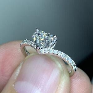 Fashion 925 Silver Heart Rings Women Cubic Zirconia Wedding Jewelry Gift Sz 6-10