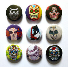 9 MEXICAN SUGAR SKULL, DAY OF THE DEAD, 25mm Badges. GREAT VALUE. FREE POST.