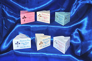 Personalised Christening Favour boxes handmade die cut 4 colours