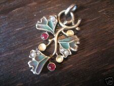 Sueño Jugendstil plique a jour email esmaltes remolque Mistel muérdago plata