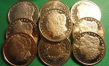 (10) 2011 ONE AVDP OZ EACH .999 Fine Morgan Dollar Design Copper Bullion