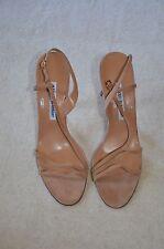 MANOLO BLAHNIK Suede Nude/Peach Strappy Heels 39.5