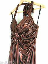 NWT Phoebe Couture Copper Metallic Sexy Grecian Shirred Halter Dress 8 $290