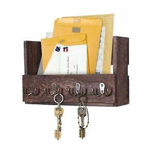 Comfify Wooden Wall Mount Mail Holder Organizer – Rustic Key Holder Organizer...