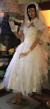 Vtg 60-70's Wedding Dress Lace Bodice Sweetheart Faux Pearl Crown Veil Size 4