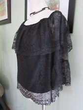 Marciano Black Off Shoulder Lace Top Blouse Size M