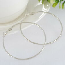 1Pair Smooth Large Round Thin Hoop Dangle Drop Earrings Bright Silver Tone