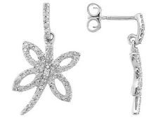 Charming Dragonfly Earrings With .35ctw Round Genuine Diamond in10k White Gold