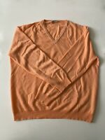 Ermenegildo Zegna Cashmere Orange White Mini Polka Dot V Neck Sweater Size L