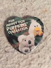Rare Puffkins Promotional Pin Back Button. Stuffed Plush Collection Series.