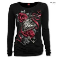 Spiral Ladies Black Gothic HEART LOCKET Rose Key L/Sleeve Top All Sizes