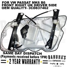 WINDOW REGULATOR-  FOR VW PASSAT MK6 B6 05-11 FRONT RIGHT DRIVER SIDE WITH PANEL