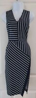 Womens Oasis Dress size 8 blue white stripe pencil party occasion vgc