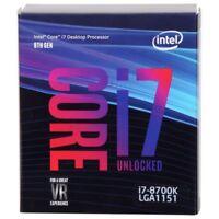Intel Core i7-8700K UNLOCKED Coffee Lake 3.7GHz (4.7GHz Turbo) LGA 1151 CPU NEW