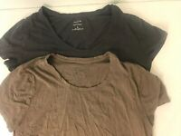 2 Banana Republic Timeless Tee Shirt Lot Women's Size M Short Sleeve Gray Brown