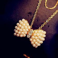 New Style Fashion Double Pearl Bow Pendant Necklace Statement Jewelry For Women