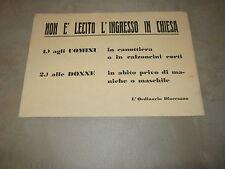 LOCANDINA,ANNI 50,Ordinario Diocesano,NON E' LECITO L'INGRESSO IN CHIESA.....