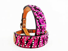 "20"" PINK ZEBRA HAIR ON BLING GEMS WESTERN STYLE LEATHER CANINE DOG COLLAR XL"
