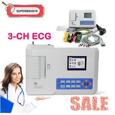 3 Channel 12 lead ECG EKG machine  PC software Electrocardiograph Multi-language