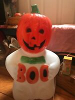 "Vintage Halloween TPI Canada 24"" Light Up  Pumpkin Head Ghost Boo-Blow Mold"