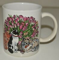 Vintage Cat Lover Ceramic Coffee Mug Cup Two Cats & Pink Tulips Flowers Rare
