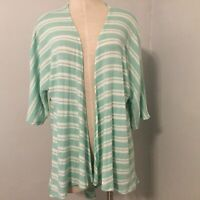 LuLaRoe Small Teal Green Striped Lindsay Kimono Cardigan Layers Open Front