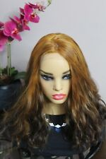 EUROPEAN HUMAN HAIR WIG NATURALLY WAVY BROWN ORANGE 22' OMBRE LACE FRONT-NEW!
