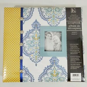 K & Company Scrapbook Simply K Album 12 X 12 Yellow/ Navy Damask & Poker Dots