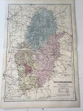 c1889 Nottinghamshire British Isles Map Bacon Antique Cut Through Middle Fold