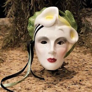 Rare 1986 VANDOR Hand Painted Canna Calla Lily Mardi Gras Porcelain Wall Mask