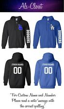 Los Angeles Dodgers Logo Baseball Zip Up Hooded Sweatshirt with Custom Name