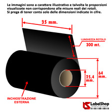 Ribbon indelebile tessile H 35 mm x 300 m. ink out  - Nastro carbongrafico a bas