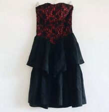 Vintage Black Red Lace Tiered Shirred Goth Bustier Formal Party Prom Dress 80s