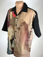 Street Savy Koi Shirt L Mens Size Large Short Sleeve Button Front