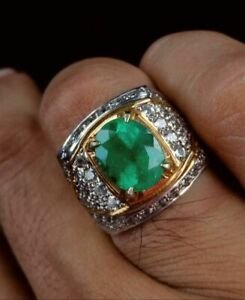 Natural Emerald Gemstone Real Diamond 18K White Gold Men's Ring