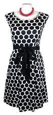 AVELLA Dress - Vintage Retro Polka Dot Black White 1950s Tie Belt Stretch - 26