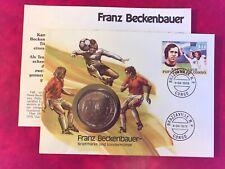 CONGO NIUE 1978 FDC NUMISBRIEF COIN FOOTBALL FRANZ BECKENBAUER 5 DOLLARS