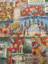 Benartex The Circus 396 Grn Vintage Poster 100% Cotton Patchwork Quilting Fabric