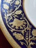 Tiffany English Bone China Blue Enamel Gold Encrusted Coalport Plate *Rare antq