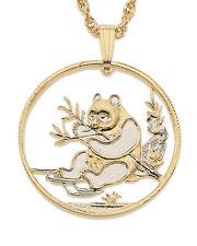 "Panda Bear Pendant & Necklace. Chinese Coin Hand cut - 1"" Diameter ( # 69 )"