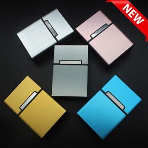 Metal Cigarette Case Aluminum Tobacco Holder Storage Container Pocket Box UK