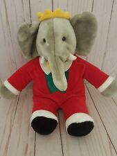 """Vintage Babar The Elephant by Gund 14"""" 1988 Stuffed Plush Toy Christmas Suit"""