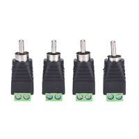 4 pcs Speaker Wire cable to Audio Male RCA Connector Adapter Jack Plug TOAR