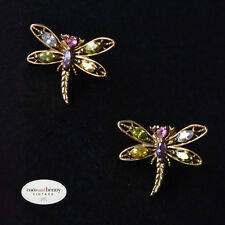 *Vintage Gold Wash 925 Sterling Silver Dragonfly Earrings Mixed Stones
