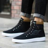 Fashion Men Oxfords Casual High Top Shoes Leather Shoes Athletic Canvas Sneakers