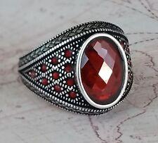 Turkish  Ottoman Red Garnet Gemstone Solid 925 Sterling Silver Mens Ring