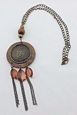 Macys? Antique Bronze Wood Tribal Statement Hammered Circle Pendant Necklace